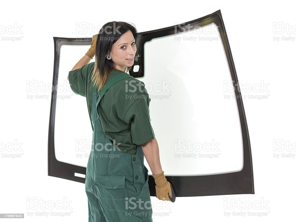 Glasser with windscreen or windshield and white background royalty-free stock photo
