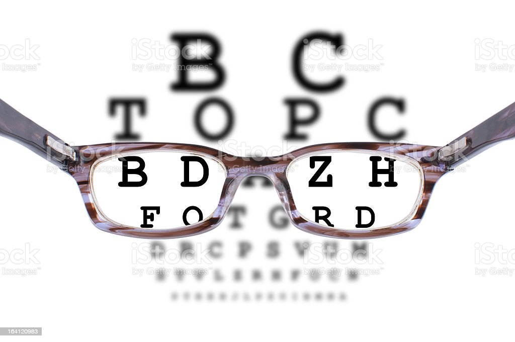 Glasses and an eye chart royalty-free stock photo