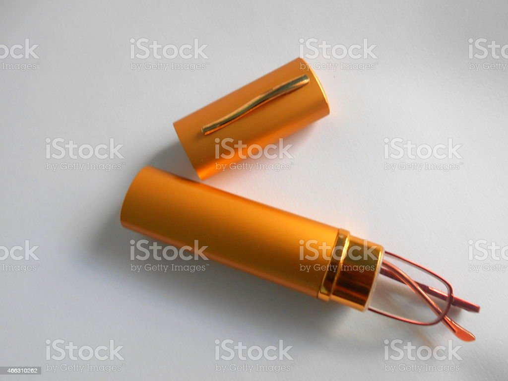 glasses and case on white stock photo