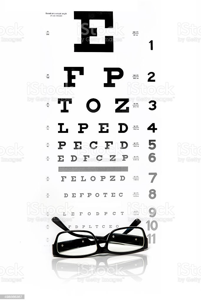 Glasses and chart stock photo