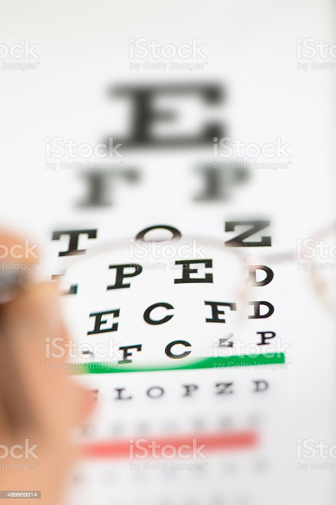 Glasses and Eye Chart stock photo
