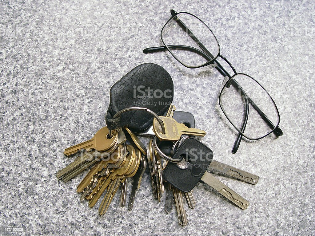 Glasses and keys stock photo