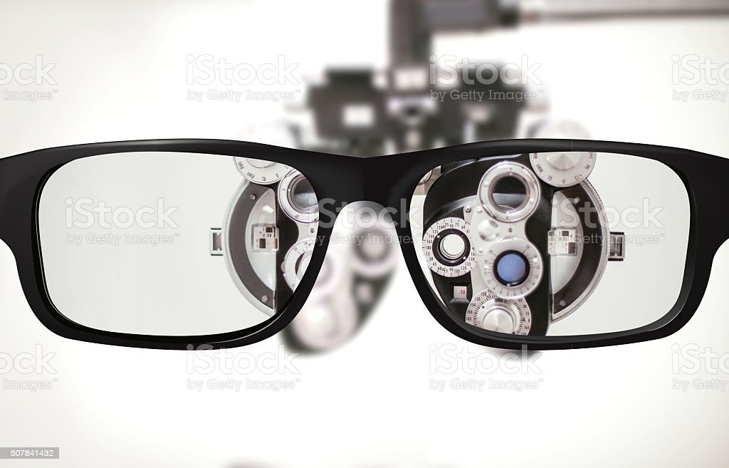 Glasses and Phoropter stock photo