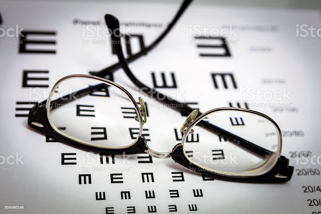 glasses and tables to check the terms of stock photo