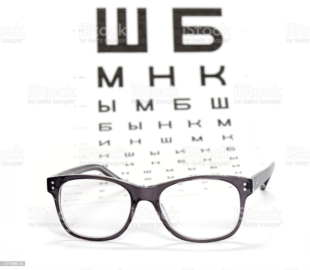 Glasses and test chart for the eye stock photo