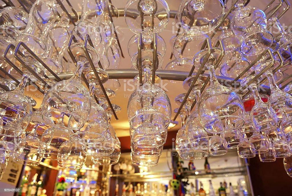 Glasses at Bar Counter royalty-free stock photo