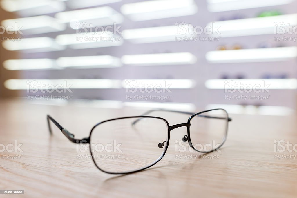Glasses at the optician stock photo