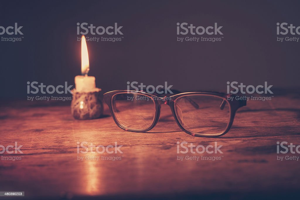 Glasses by candlelight royalty-free stock photo