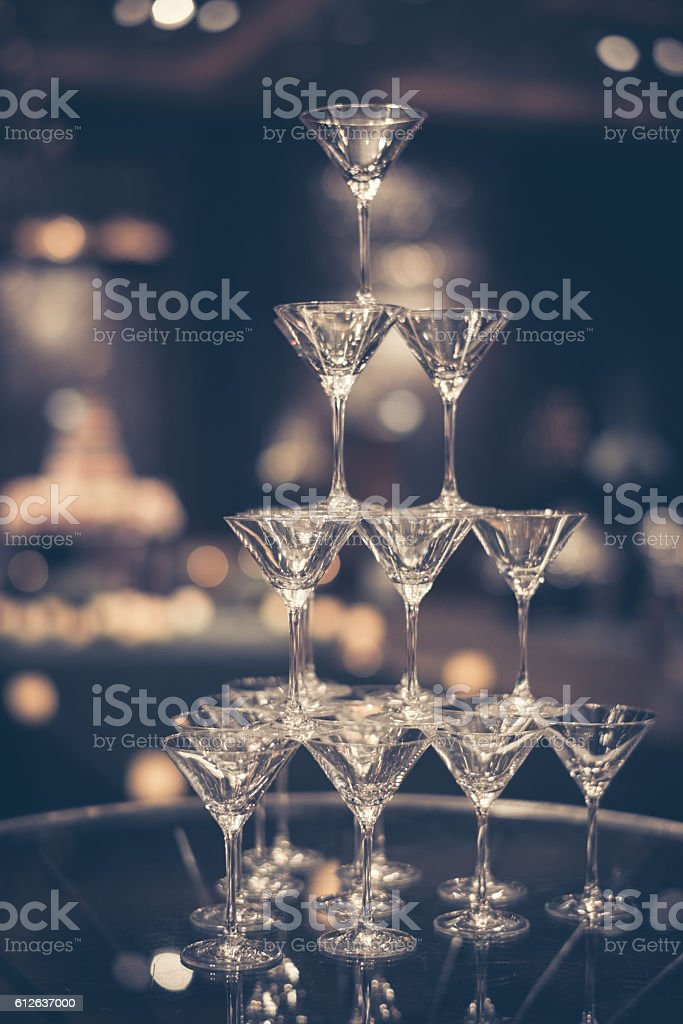 glasses, champagne tower for celebrate in party stock photo