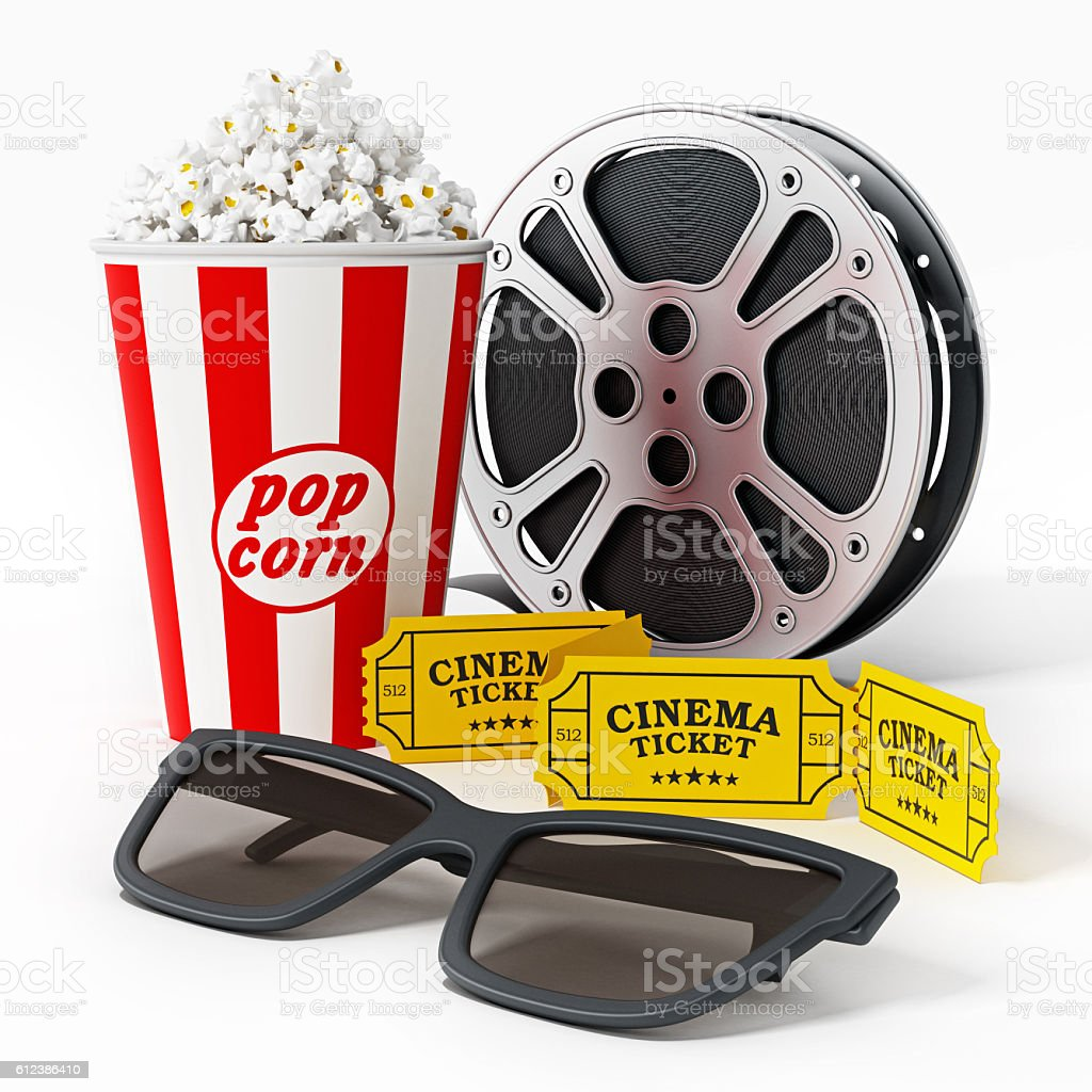 3D glasses, cinema tickets, movie reel and popcorn stock photo
