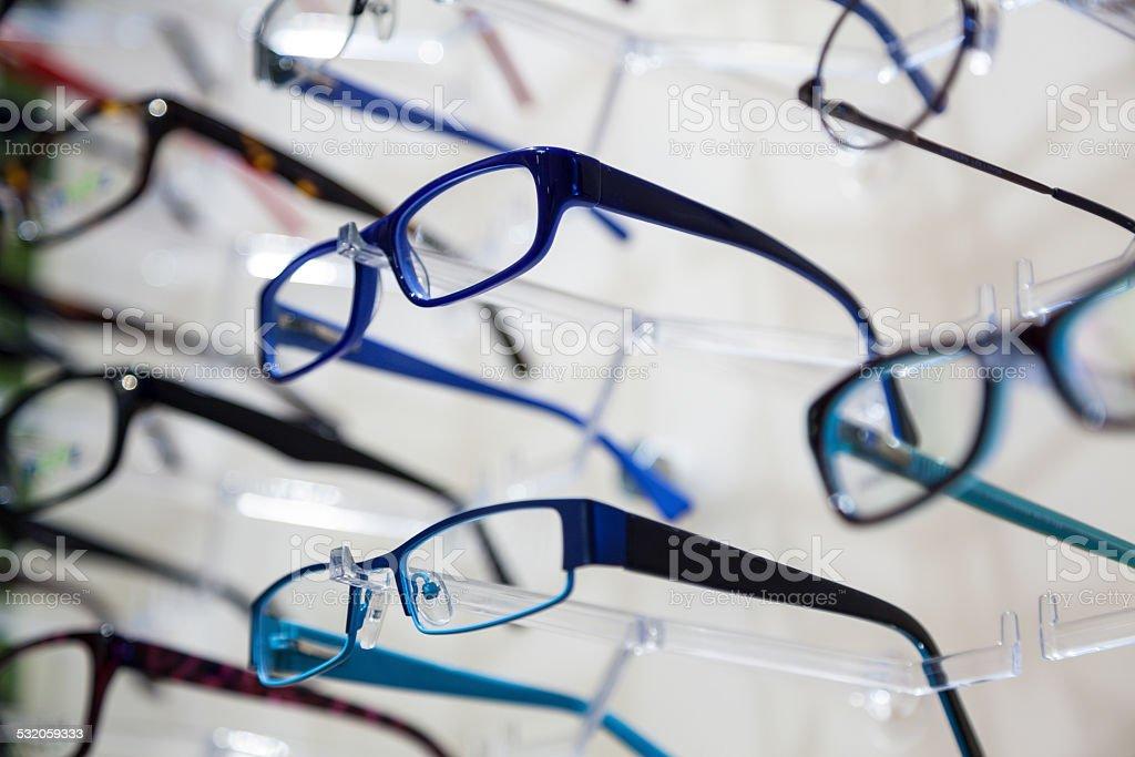 Glasses display stock photo