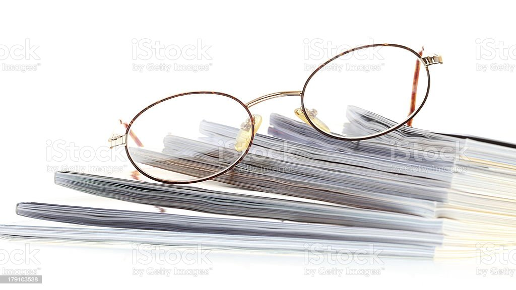 glasses eBook reader isolated on white royalty-free stock photo