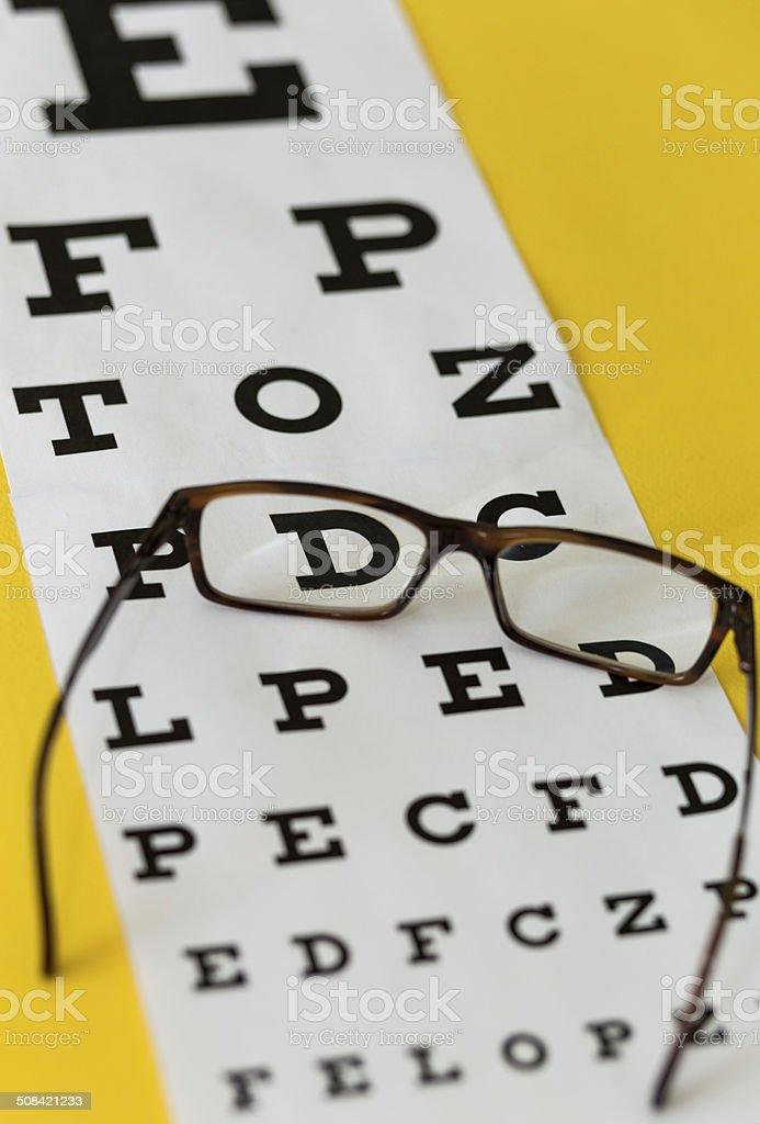 Glasses & Eye Chart stock photo