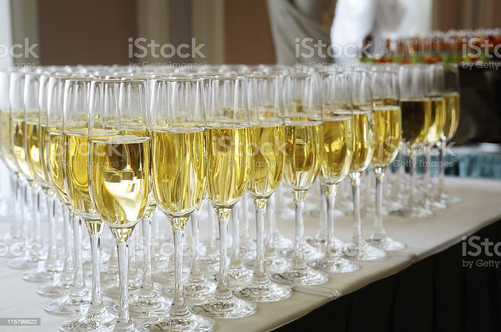 Glasses filled with champagne. royalty-free stock photo
