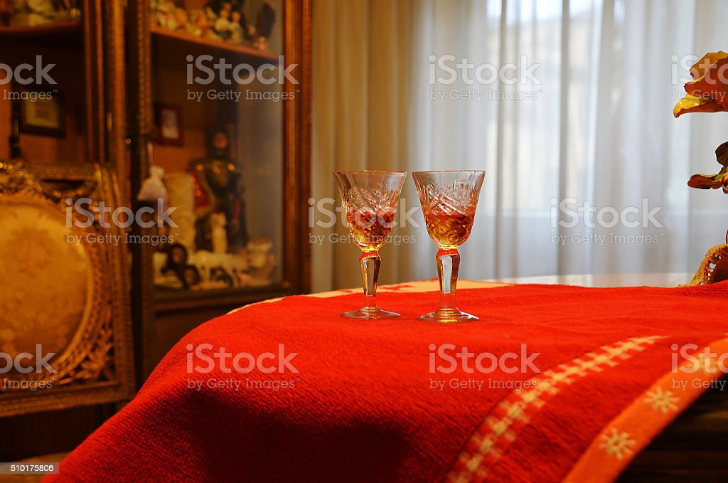 glasses for a drink stock photo