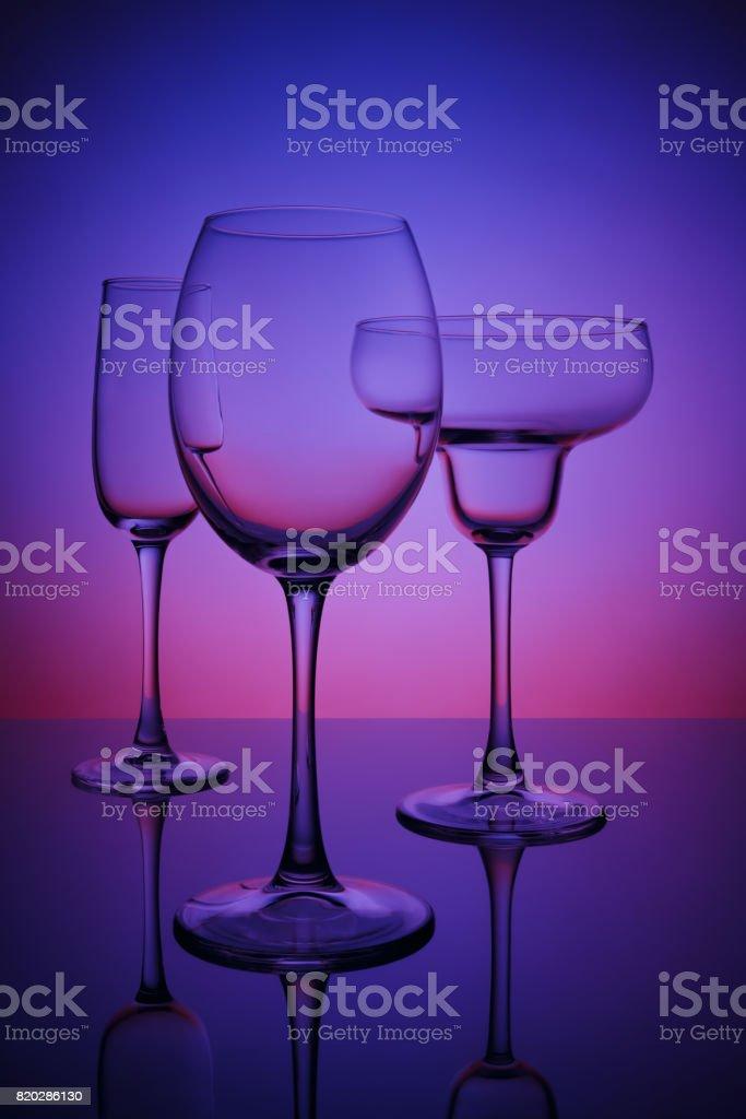 Glasses for drinks stock photo