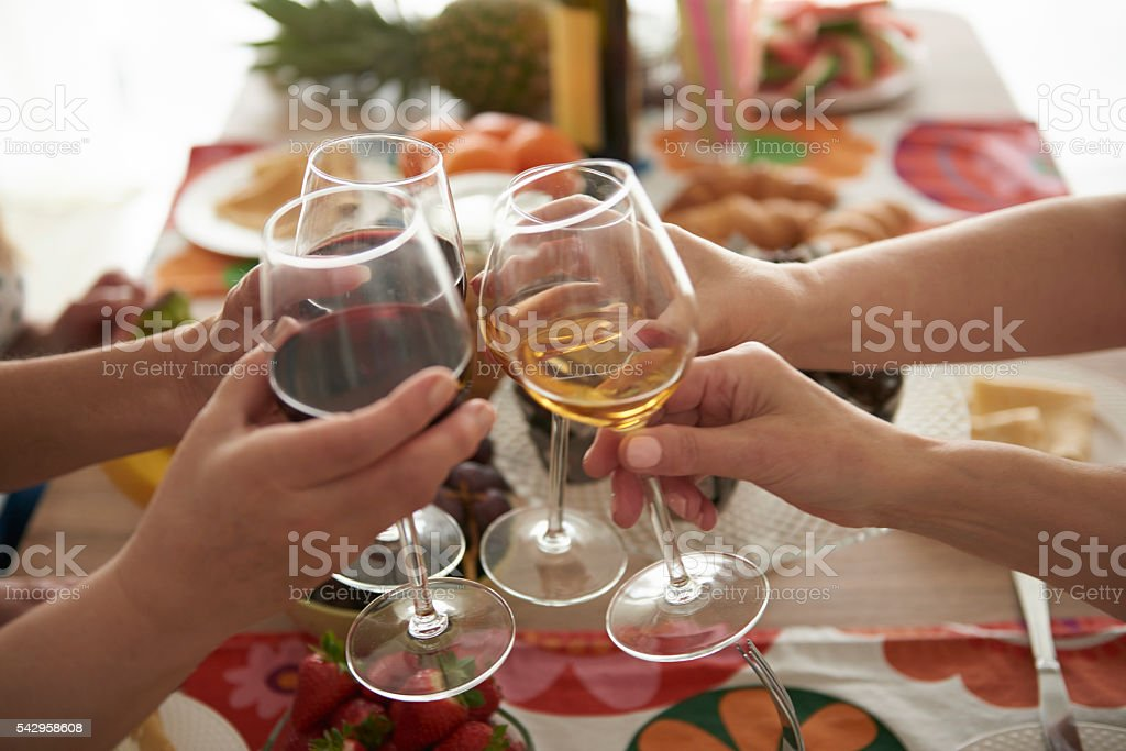 Glasses full of good wine stock photo