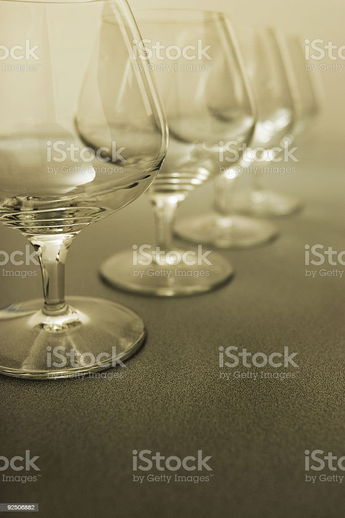 Glasses in a row royalty-free stock photo