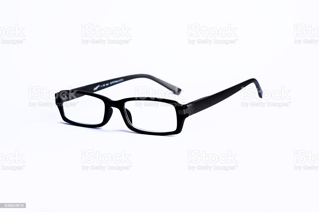 Brille in schwarz freigestellt stock photo