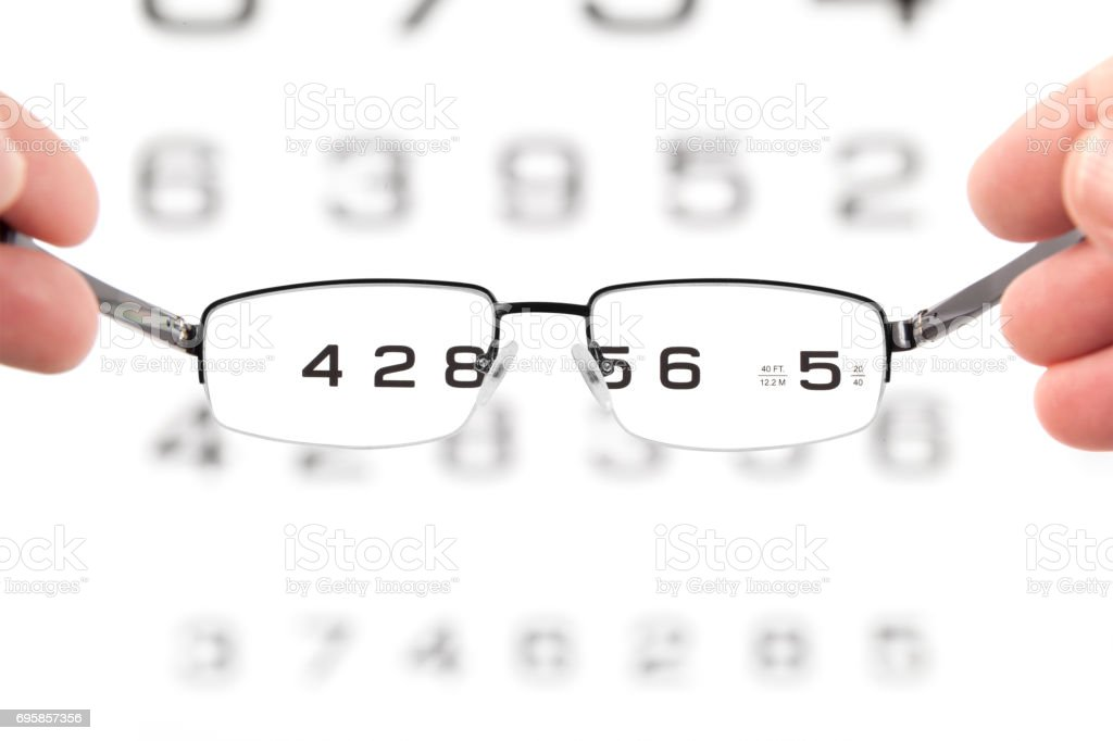 Glasses In Hands And Eye Test Chart stock photo