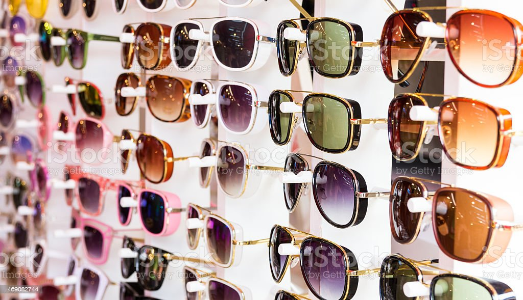 glasses in opticians shop stock photo
