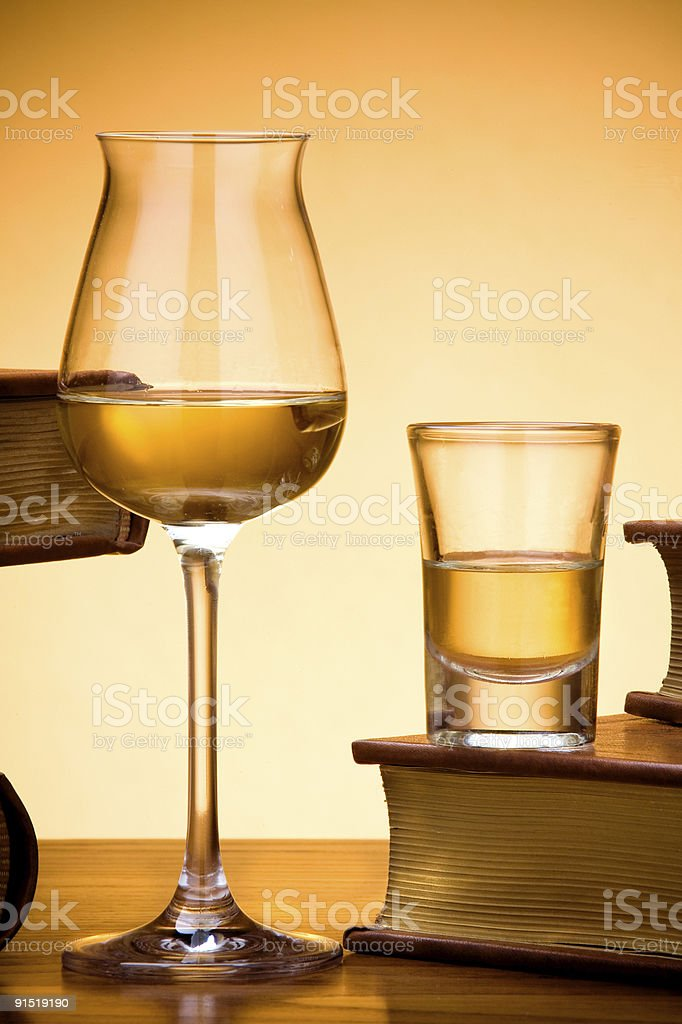 Verres de brandy, un verre de cognac ou grappa photo libre de droits
