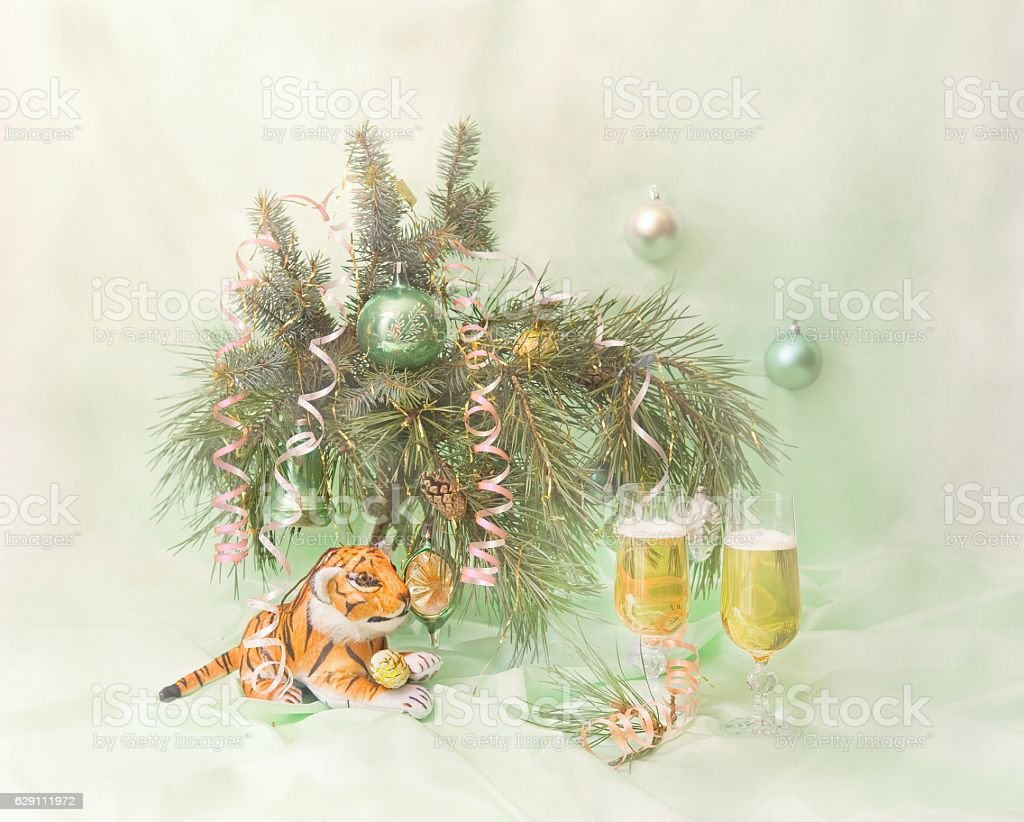 Glasses of champagne and fir tree branch stock photo