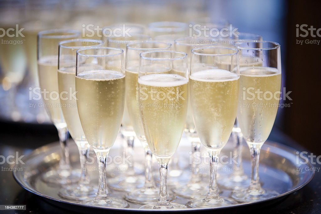 glasses of champagne on silver tray royalty-free stock photo