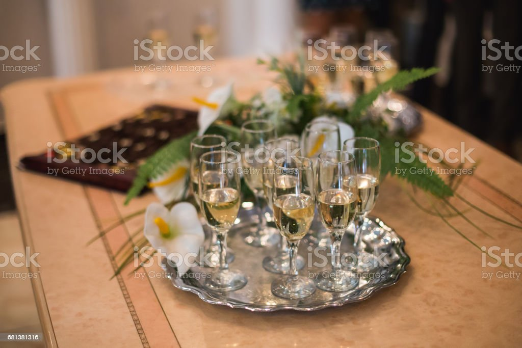 glasses of champagne on the table stock photo