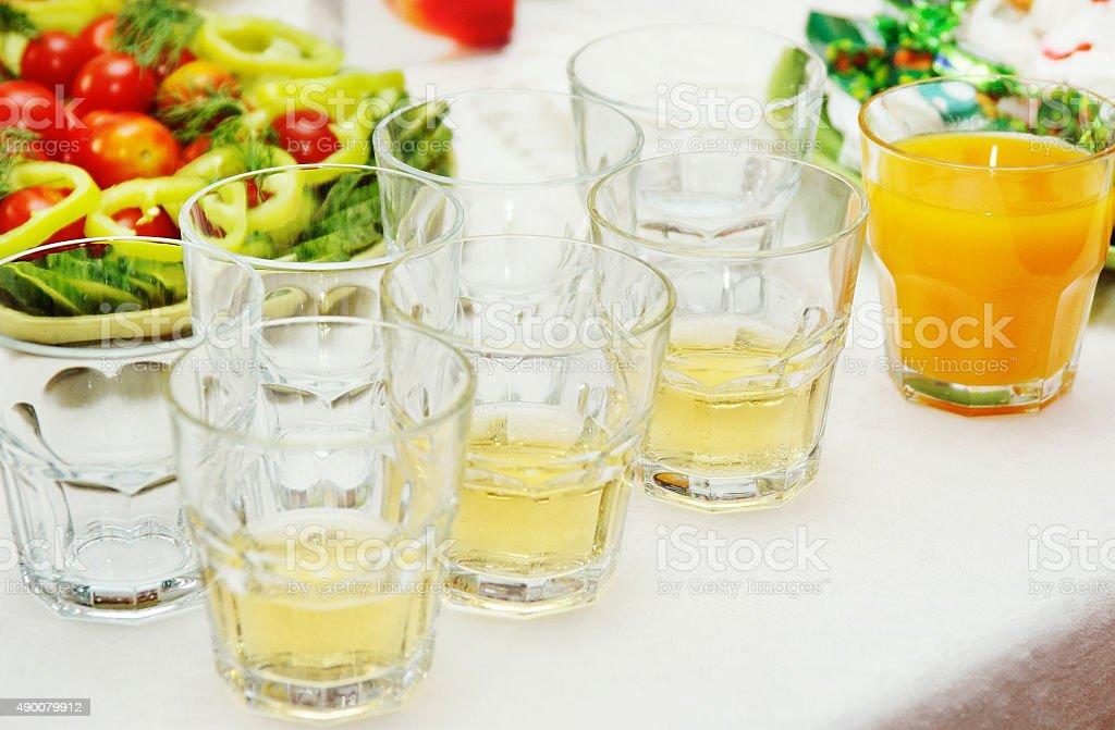 glasses of freshly squeezed orange juice. stock photo
