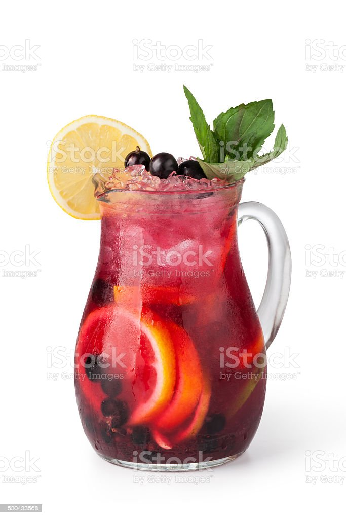Glasses of fruit drinks with ice cubes stock photo