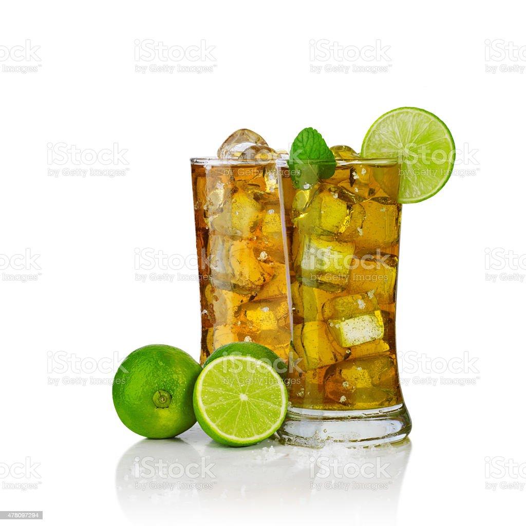 glasses of ice tea stock photo