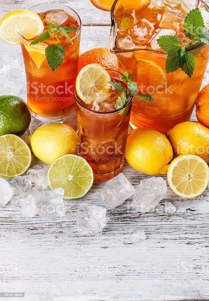 Glasses of iced tea stock photo