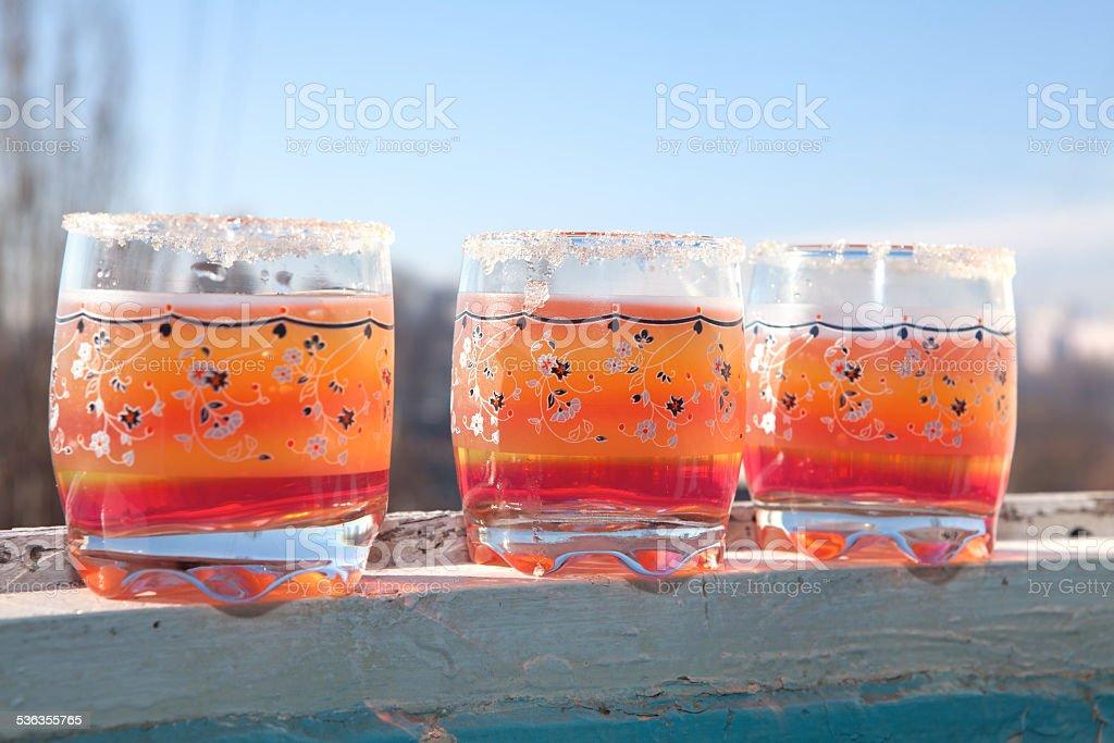 glasses of juice stock photo
