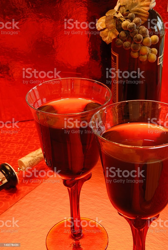 Glasses of Merlot Wine royalty-free stock photo