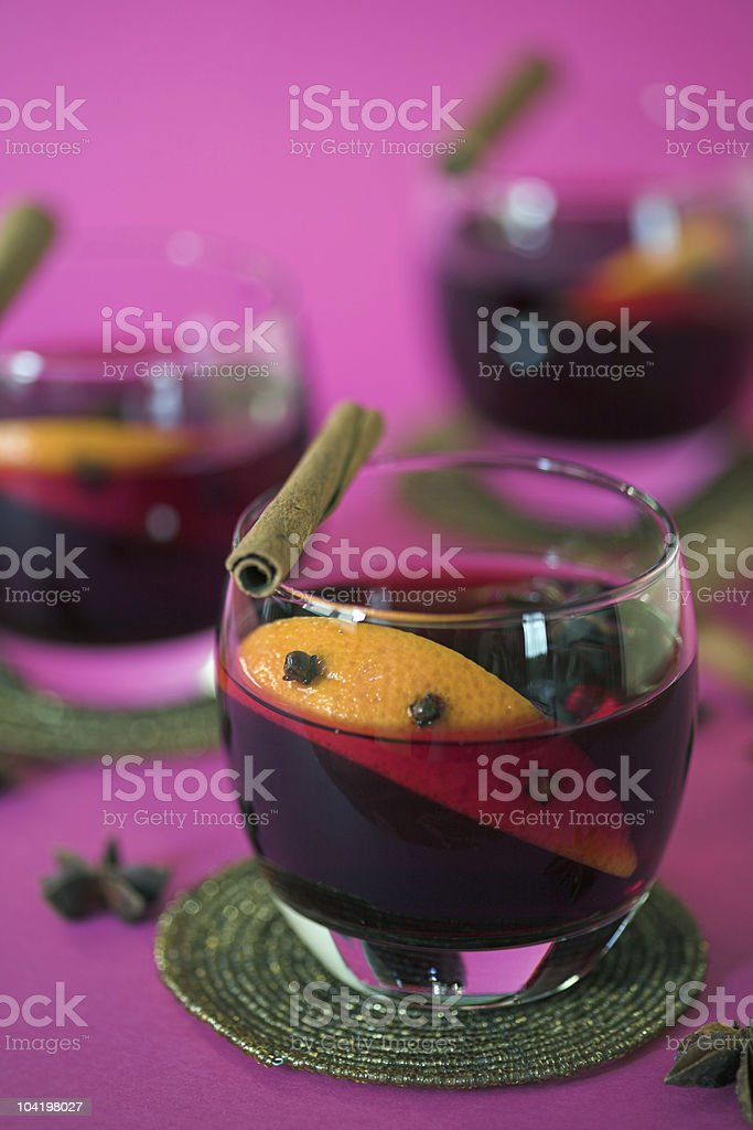 Glasses of mulled wine royalty-free stock photo
