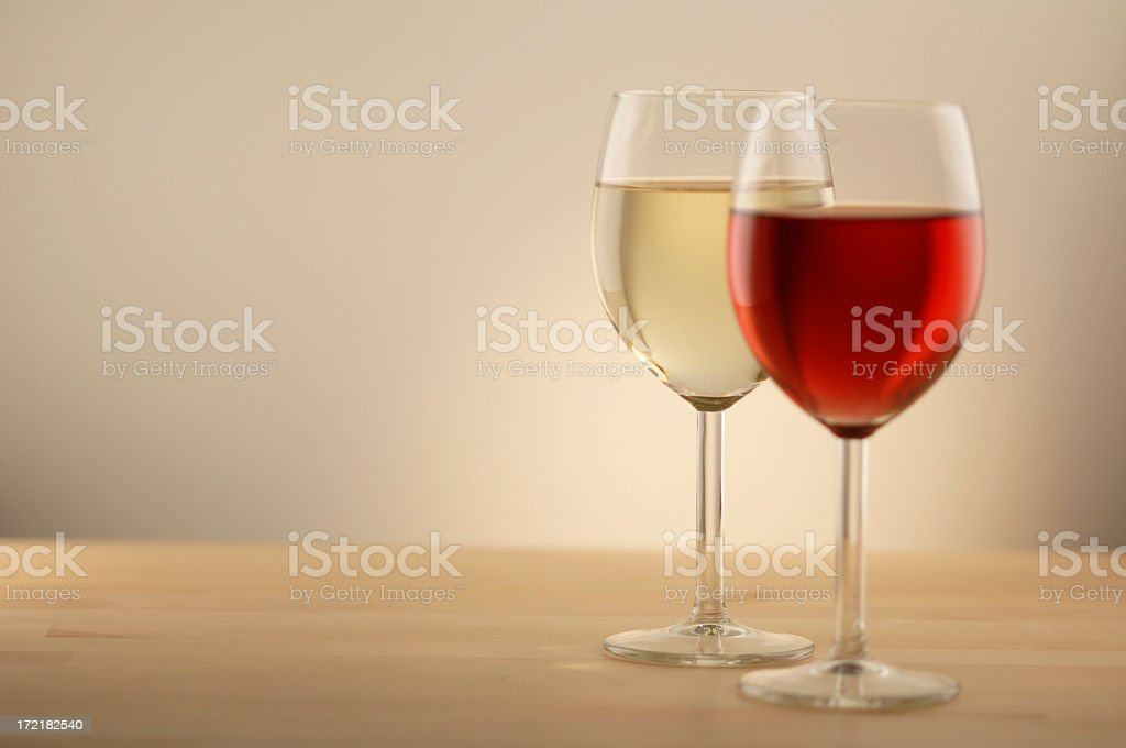 Glasses Of Red And White Wine royalty-free stock photo