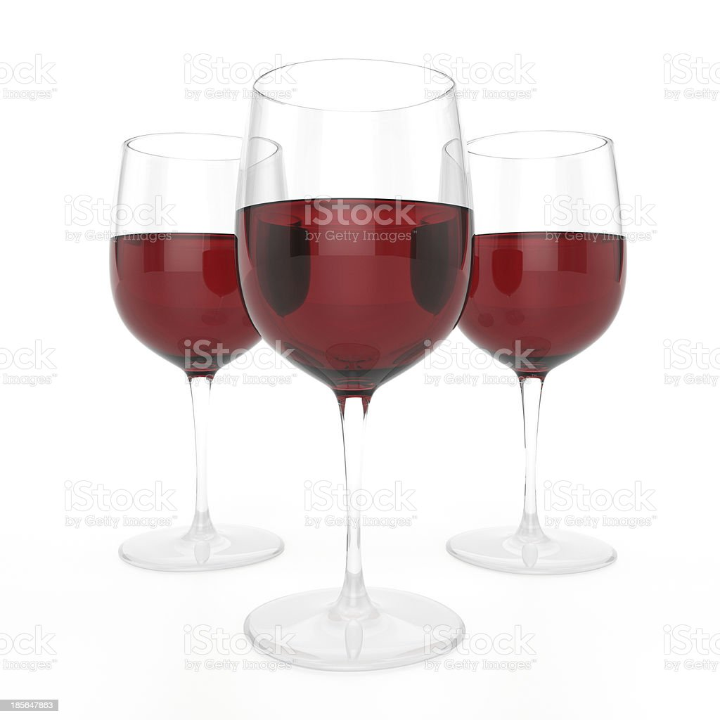 3 Glasses Of Red Wine royalty-free stock photo
