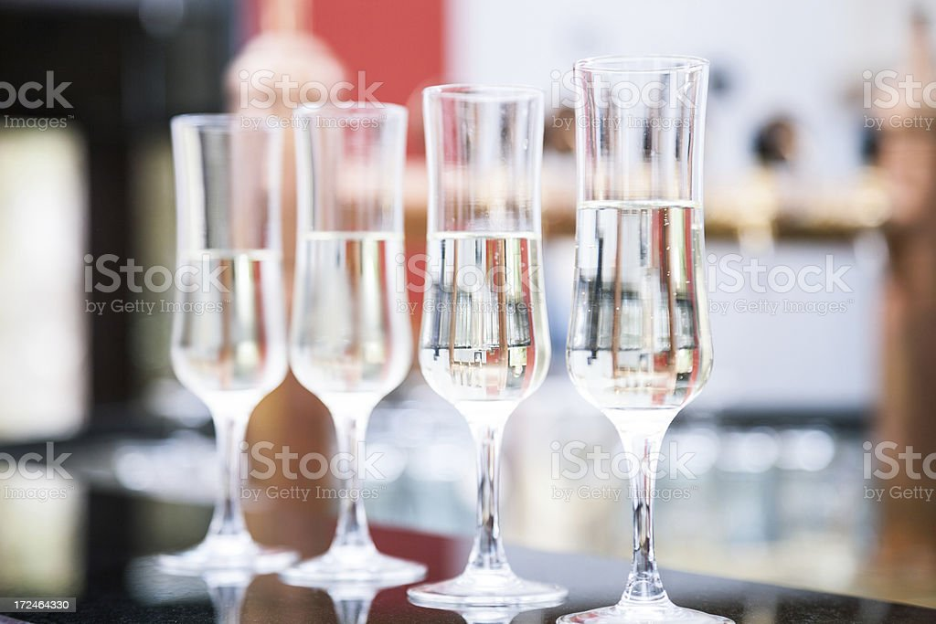 Glasses of white wine - Aperitif served in a cafe stock photo