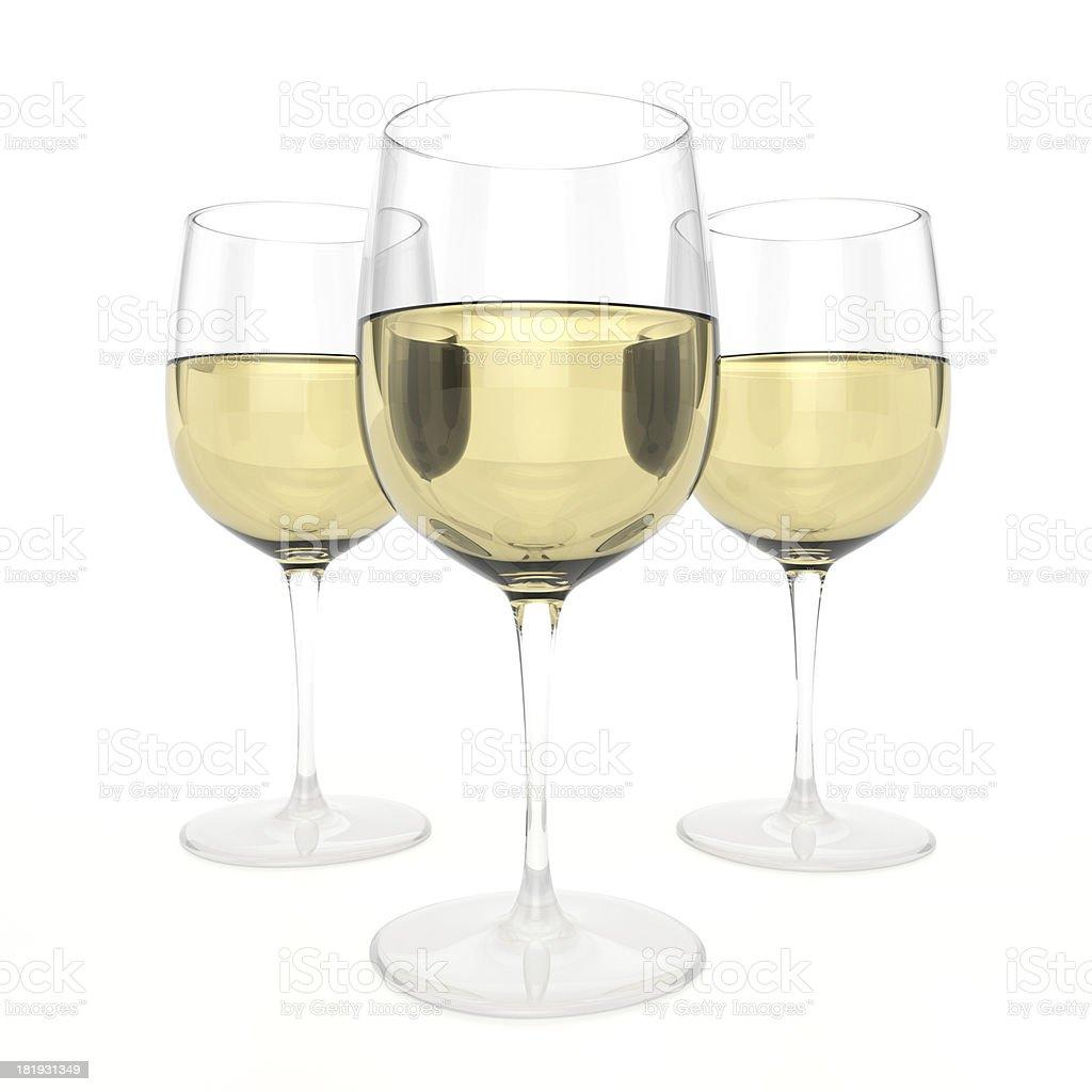 3 Glasses Of White Wine royalty-free stock photo