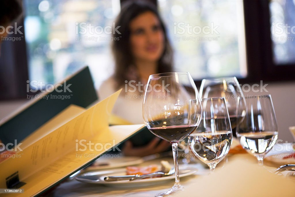 Glasses of wine and water stock photo