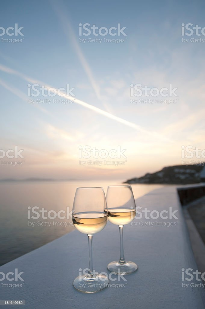 2 glasses of wine at sunset royalty-free stock photo