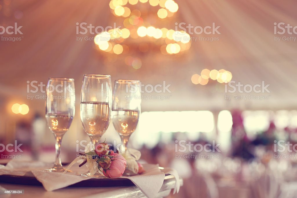Glasses of wine in a restaurant stock photo