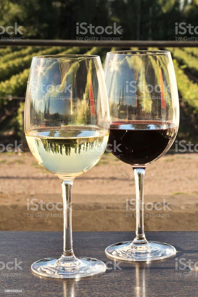 Glasses of wine stock photo