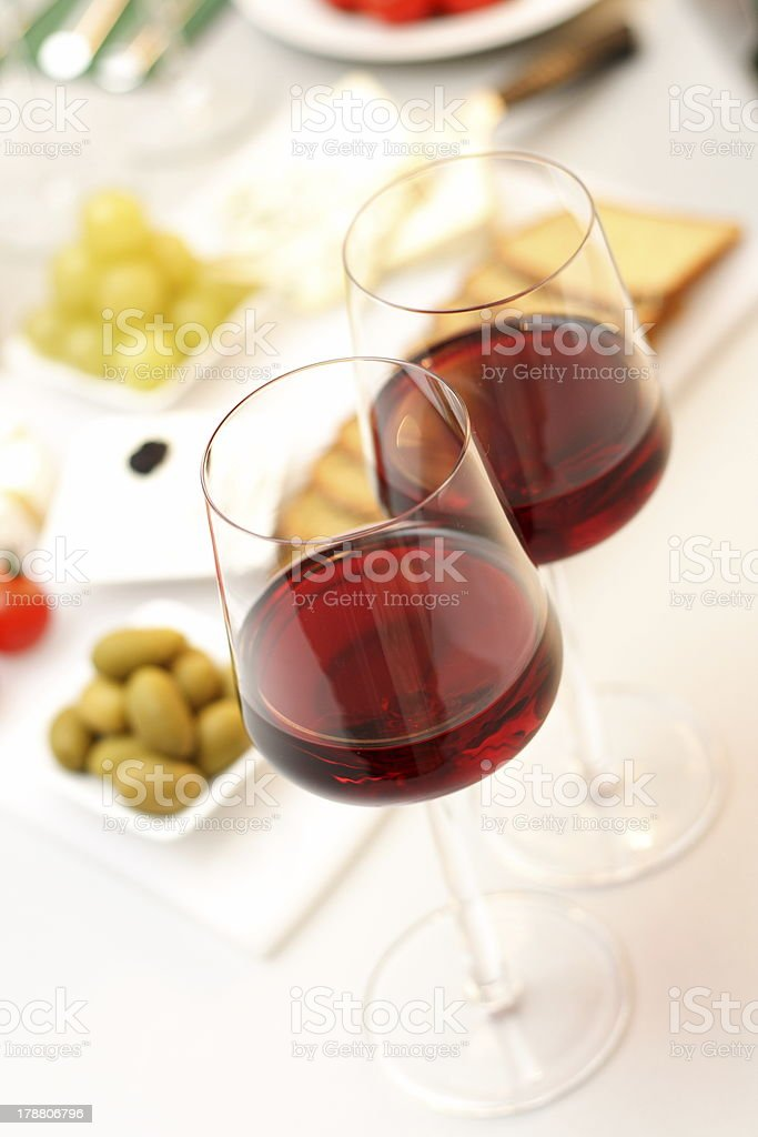 Glasses of  wine with food royalty-free stock photo