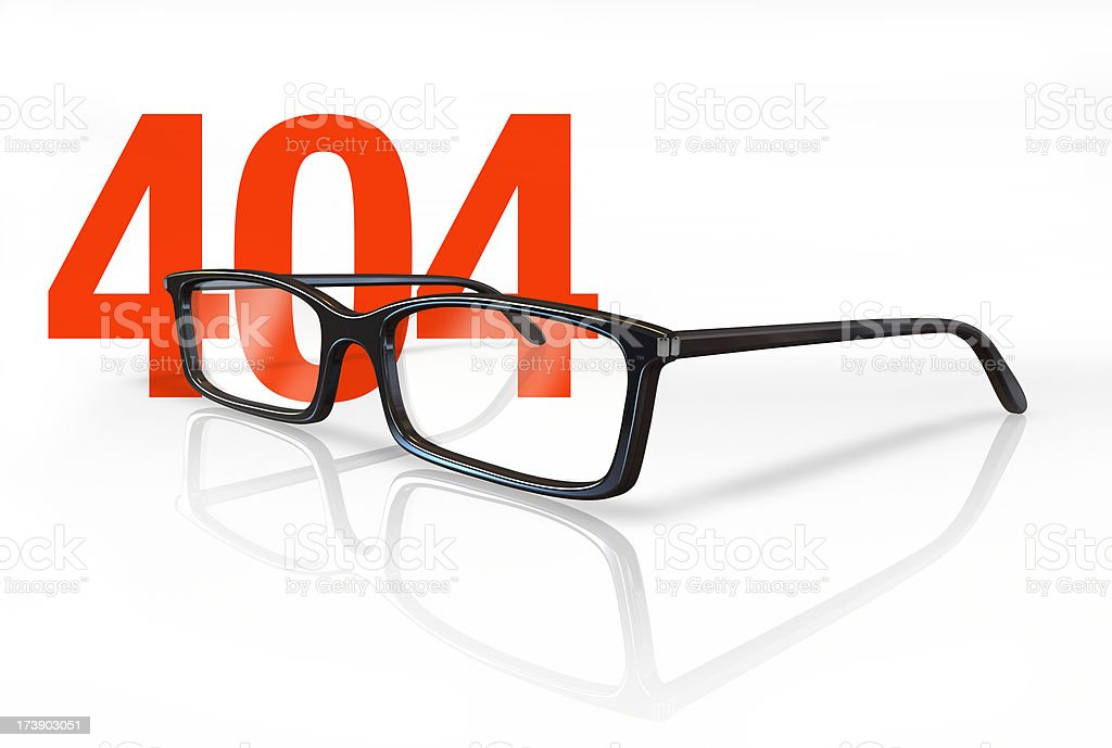 Glasses on 404 stock photo