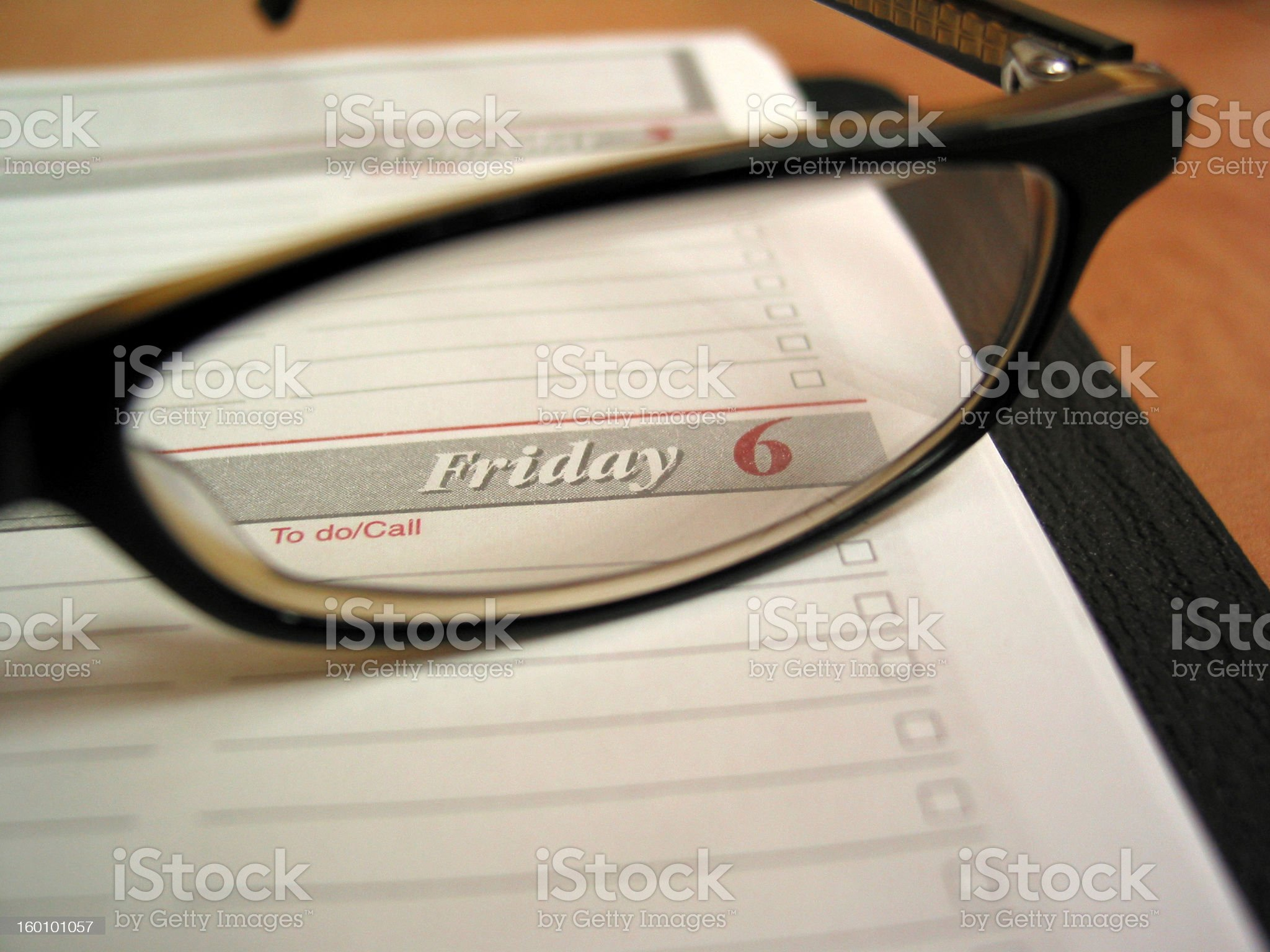 Glasses on a calendar royalty-free stock photo