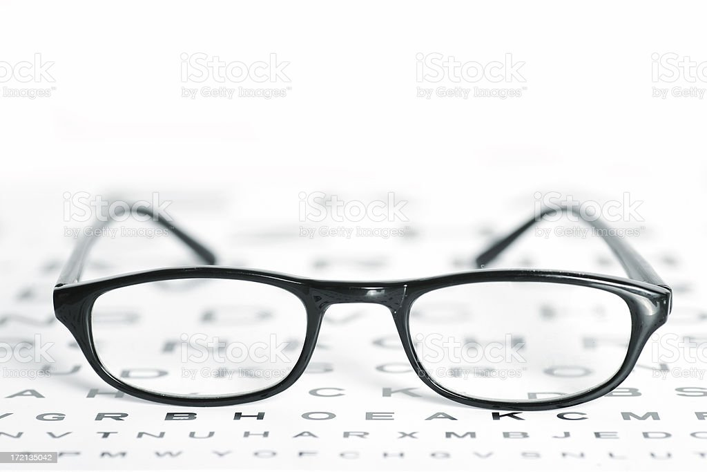 Glasses on a Chart royalty-free stock photo