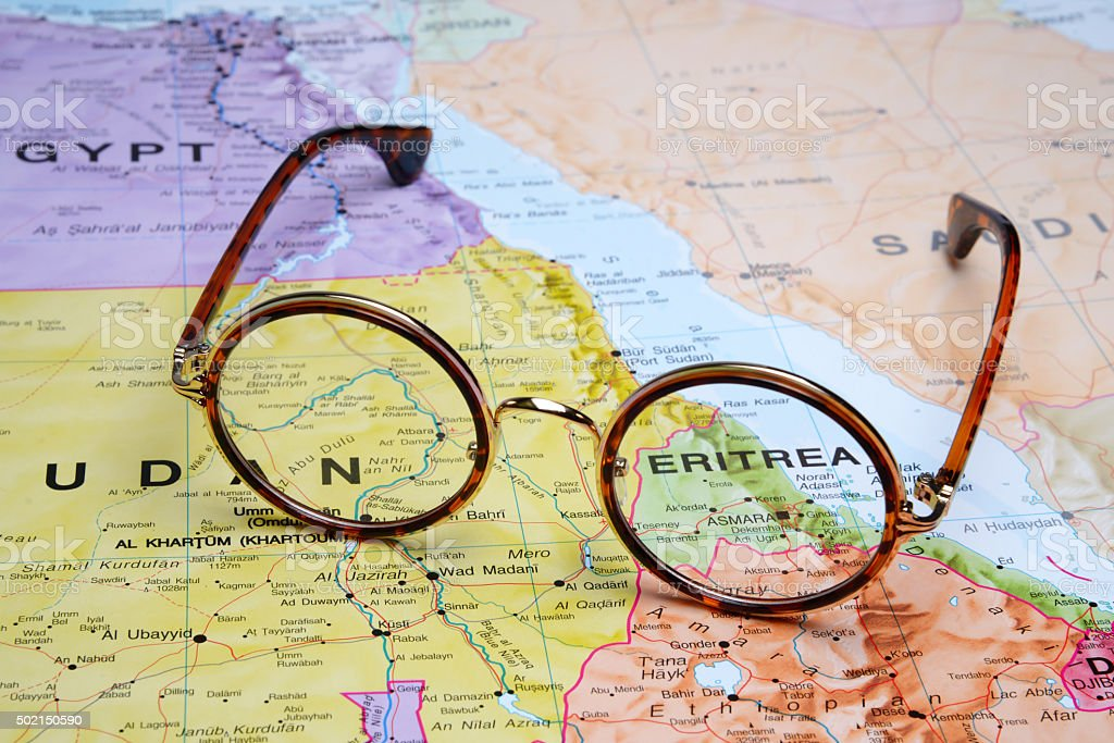 Glasses on a map - Asmara stock photo