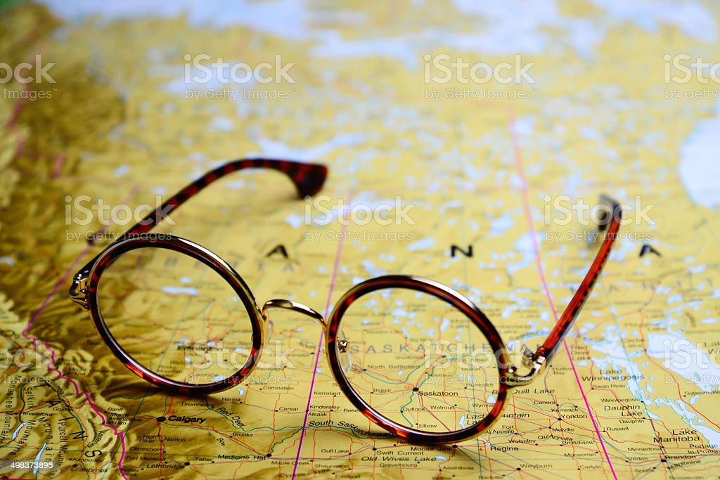 Glasses on a map - Canada stock photo